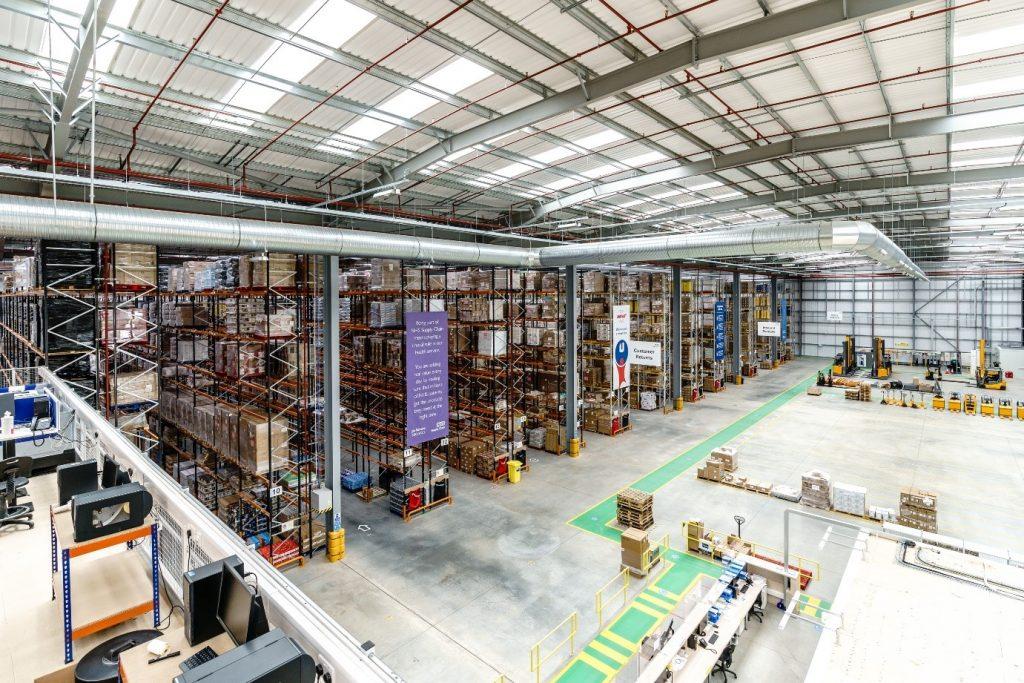 Warehouse lighting inside Unipart warehouse