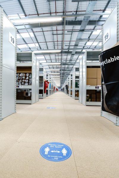 LED lighting inside Unipart warehouse