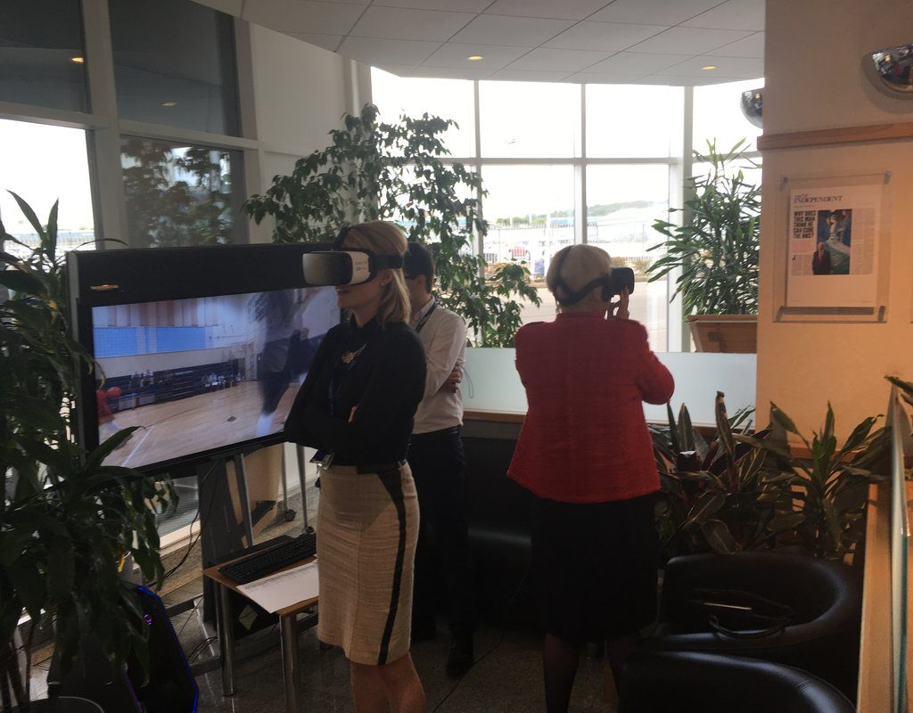 Colleagues exploring VR