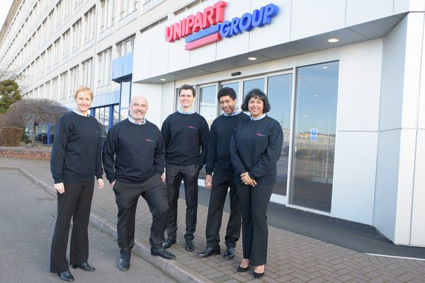 Unipart employees outside Unipart House reception