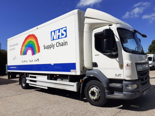 NHS Supply Chain lorry showing support for key workers