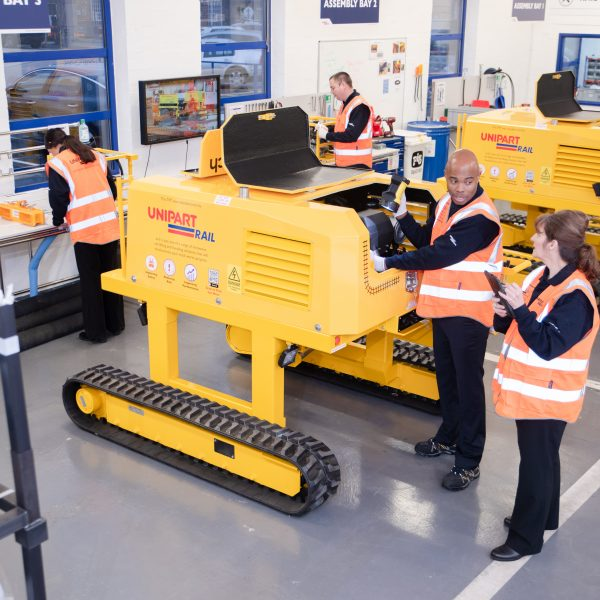 A McCulloch Track Rail Transposer being built at Unipart Rail's Crewe site. Unipart is working on a version using zero-emissions rail technology