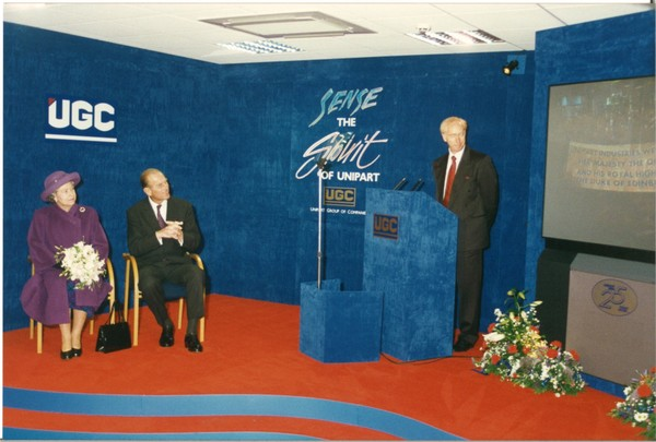 Archive photo of HRH Duke of Edinburgh and the Queen visiting Unipart in 1995